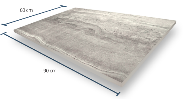 20mm Travertine Grey Dimensions