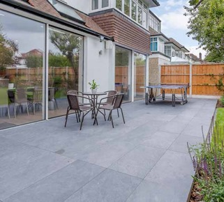 slate grey paved area