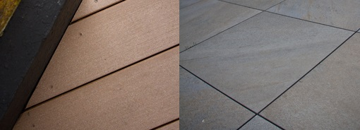 Composite decking and porcelain paving, side by side