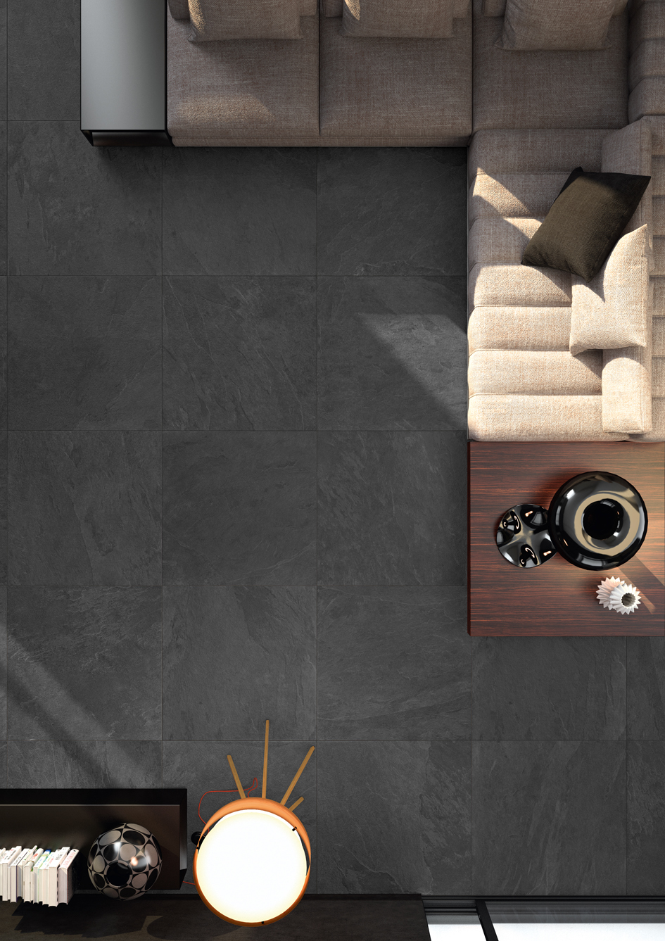 Slate porcelain tiles the beauty of slate the durability of for indoor and outdoor use slate porcelain tiles are available in two thicknesses and dimensions the 1cm thick tiles are ideal for interiors dailygadgetfo Images