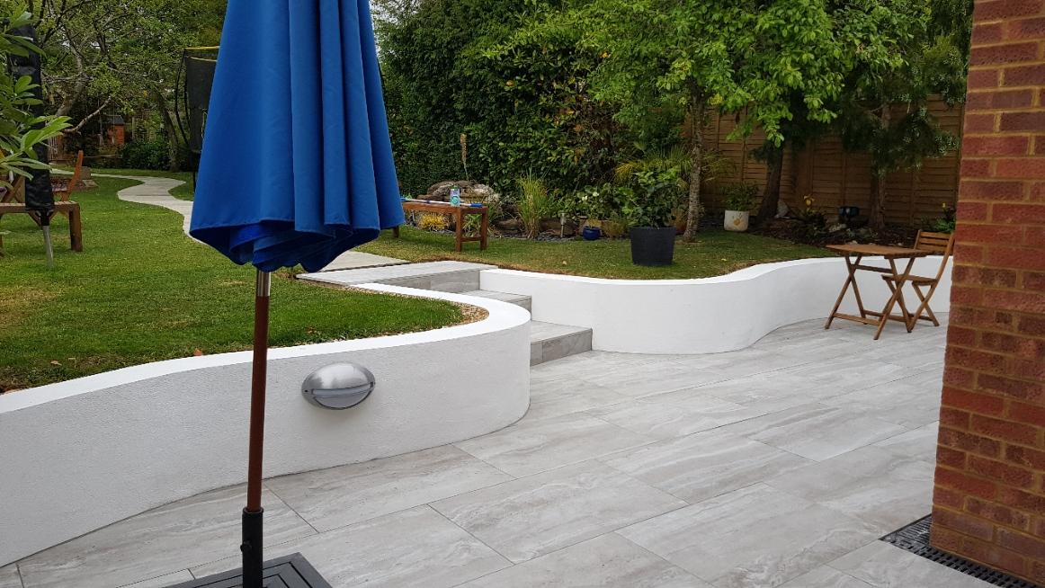 Grey Travertine paving in the garden