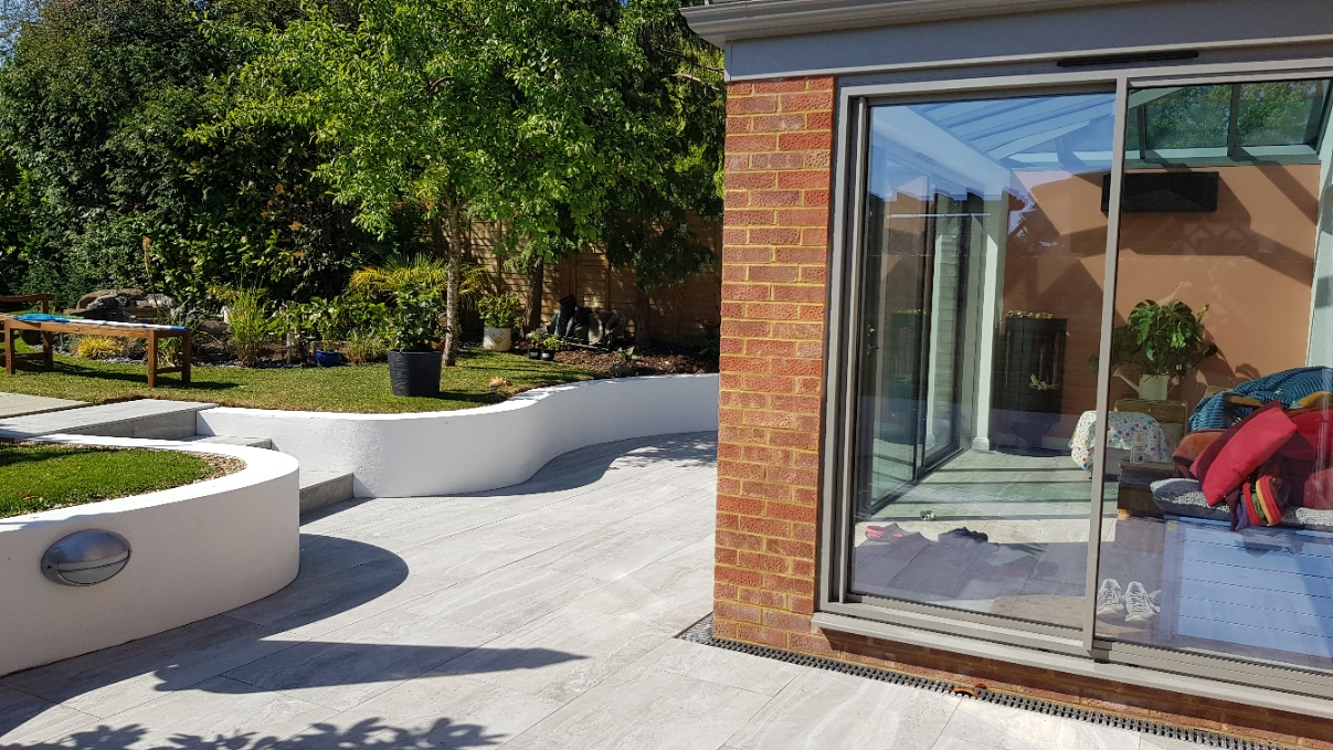 Travertine Grey tiles inside and outside