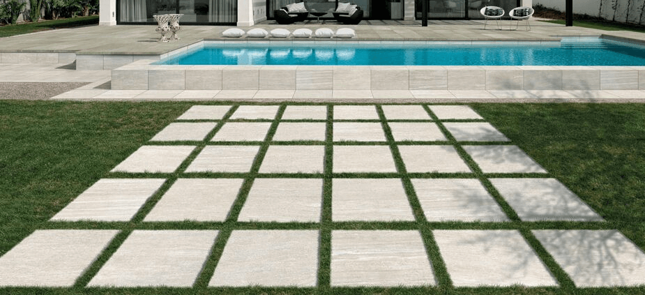 Italian style porcelain tiles on grass