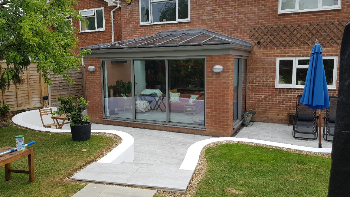Porcelain paved patio and sunroom