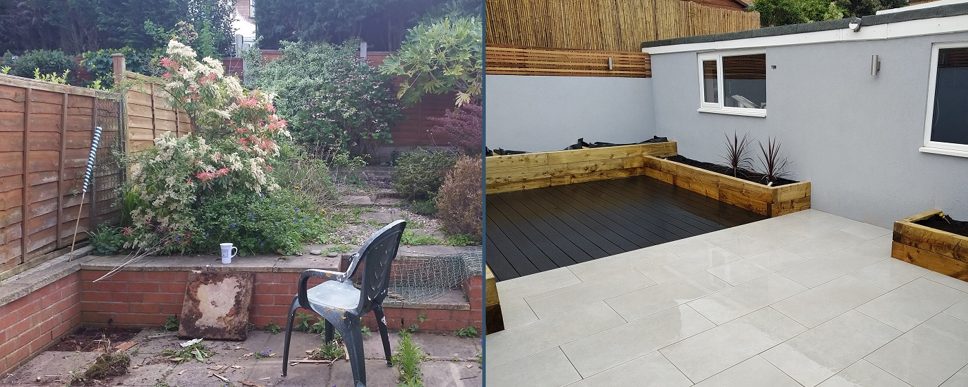 Garden before and after PrimaPorcelain paving
