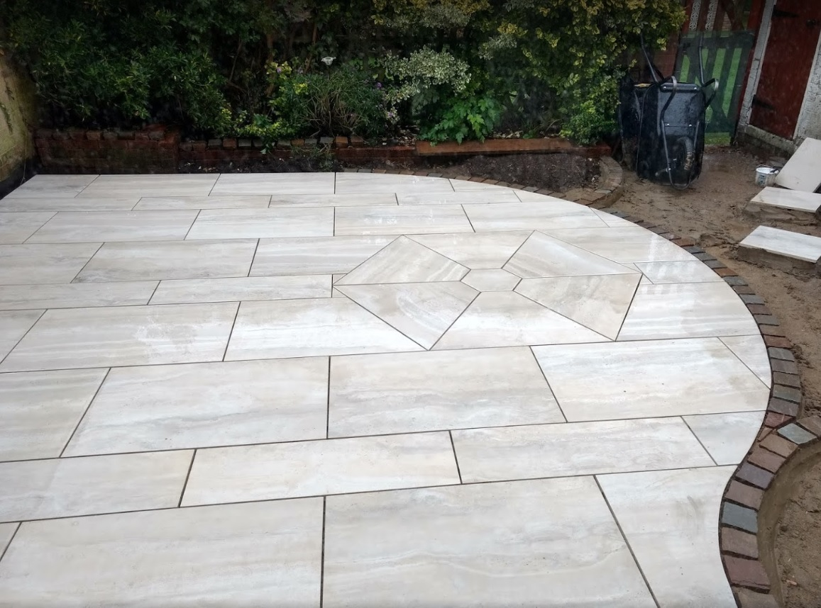 Unique patio design with hexagon insert