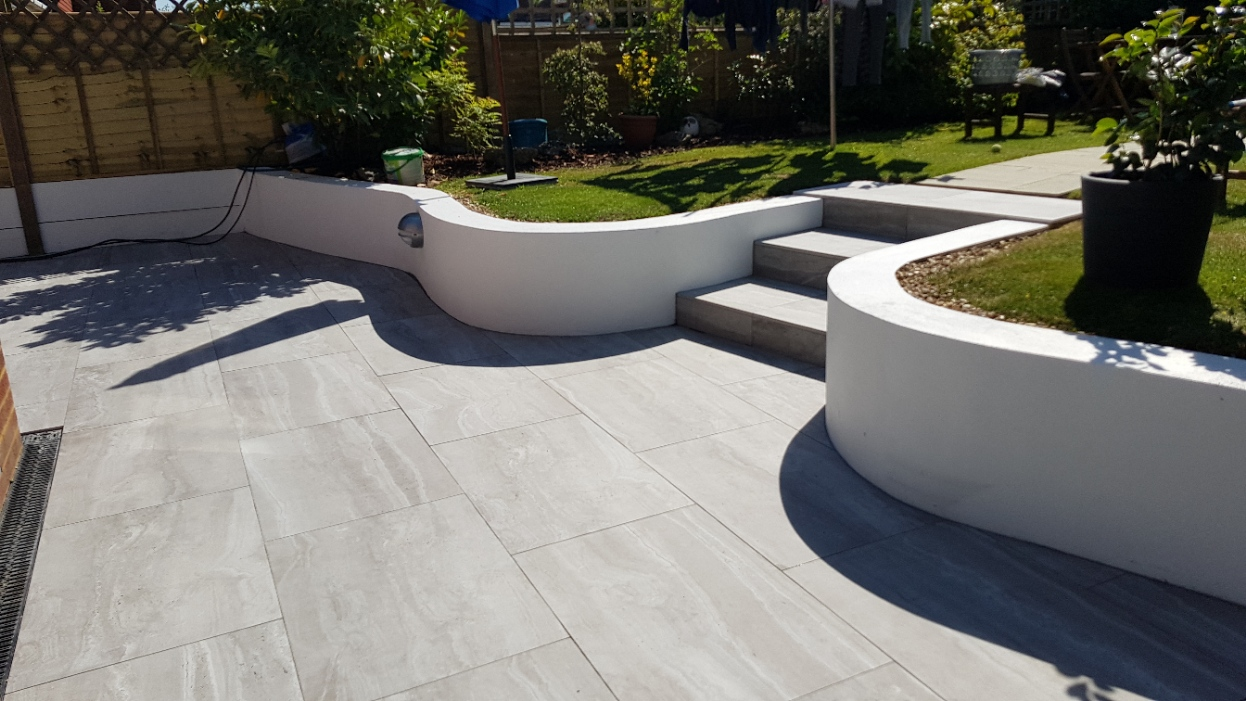 Travertine Grey paving on patio