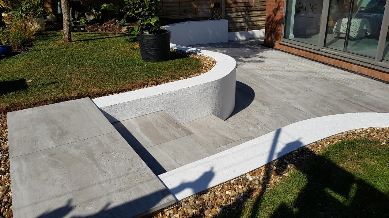 Travertine Grey porcelain paving steps